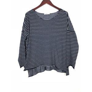 🔸Zara Navy and White Stripe Hi-Lo Knit Top